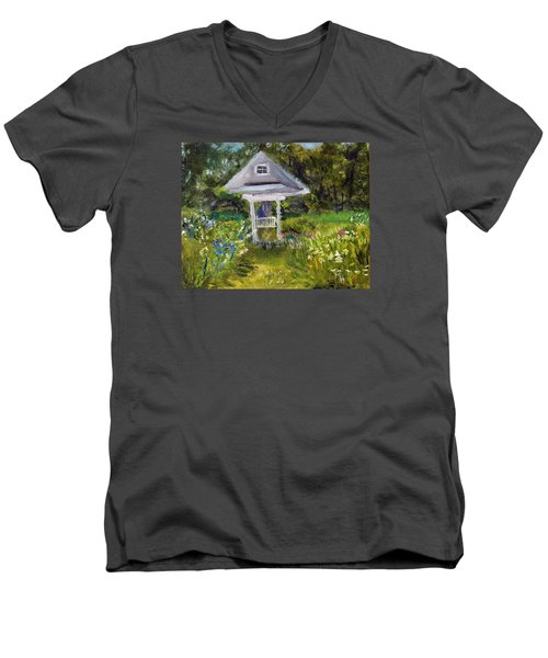 Men's V-Neck T-Shirt featuring the painting Garden Path by Michael Helfen