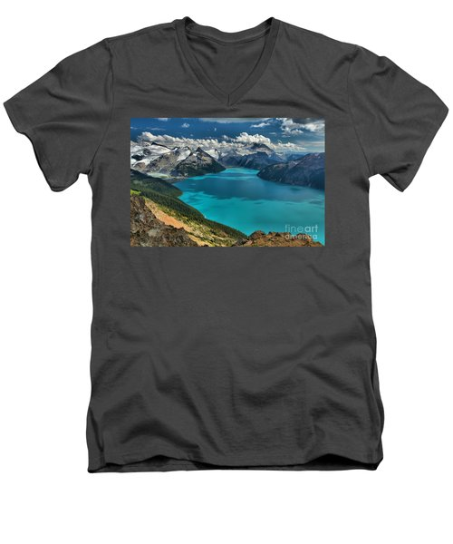 Garibaldi Lake Blues Greens And Mountains Men's V-Neck T-Shirt by Adam Jewell