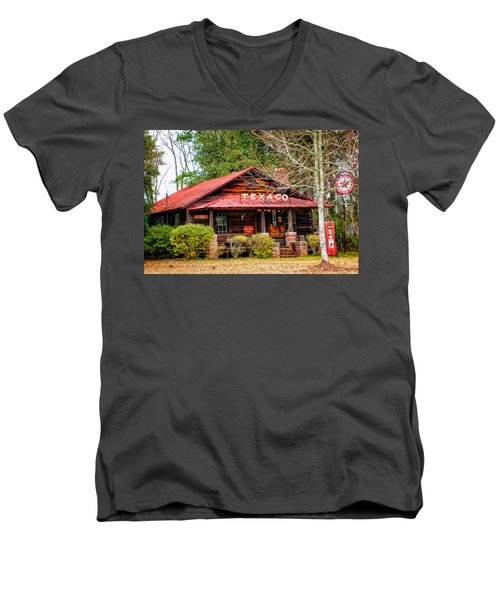 Men's V-Neck T-Shirt featuring the photograph Gas Station 1 by Dawn Eshelman