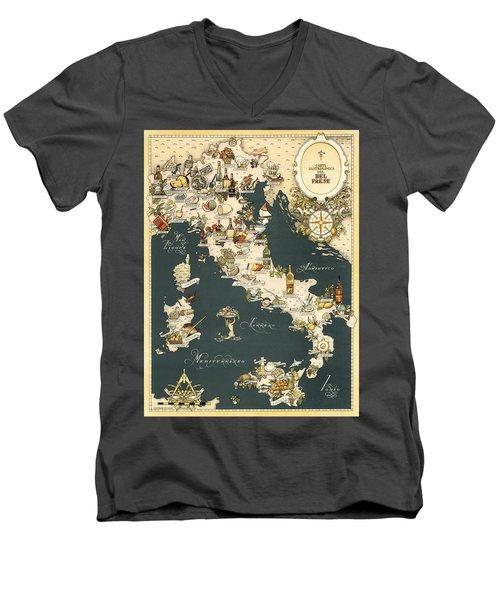 Gastronomic Map Of Italy 1949 Men's V-Neck T-Shirt