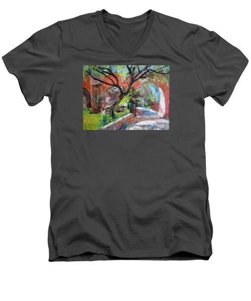 Men's V-Neck T-Shirt featuring the painting Gate by Jiemin g Wang