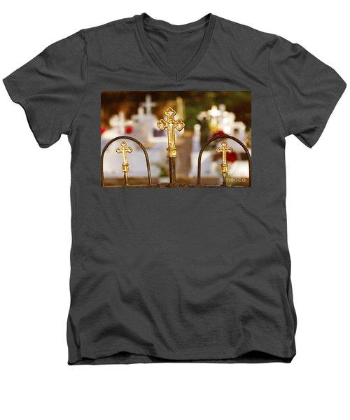 Men's V-Neck T-Shirt featuring the photograph Louisiana Cemetery by Luana K Perez