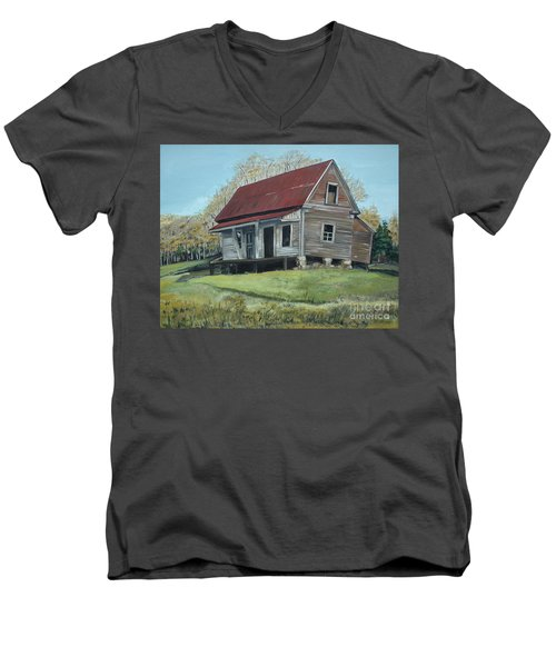 Men's V-Neck T-Shirt featuring the painting Gates Chapel - Ellijay Ga - Old Homestead by Jan Dappen