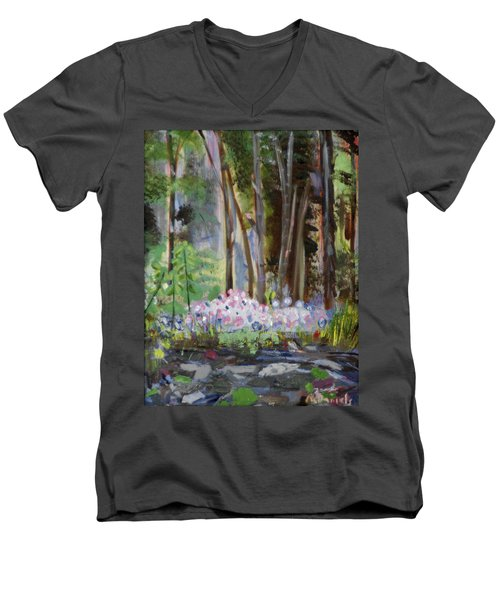 Men's V-Neck T-Shirt featuring the painting Gateway At The Balsams by Michael Daniels