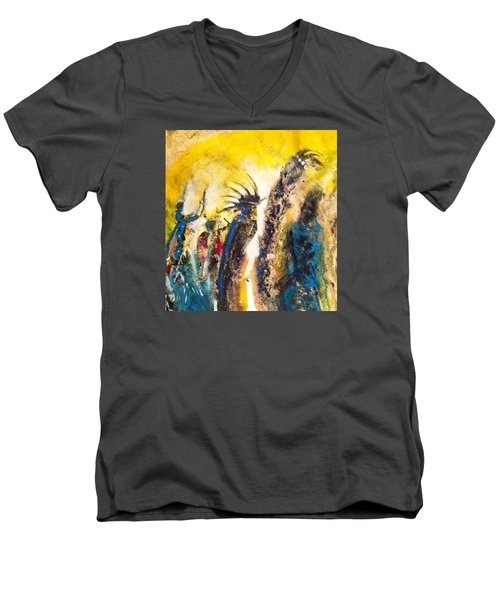 Men's V-Neck T-Shirt featuring the painting Gathering 2 by Kicking Bear  Productions