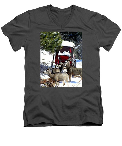 Gathering At The Old Stage Coach.. Men's V-Neck T-Shirt
