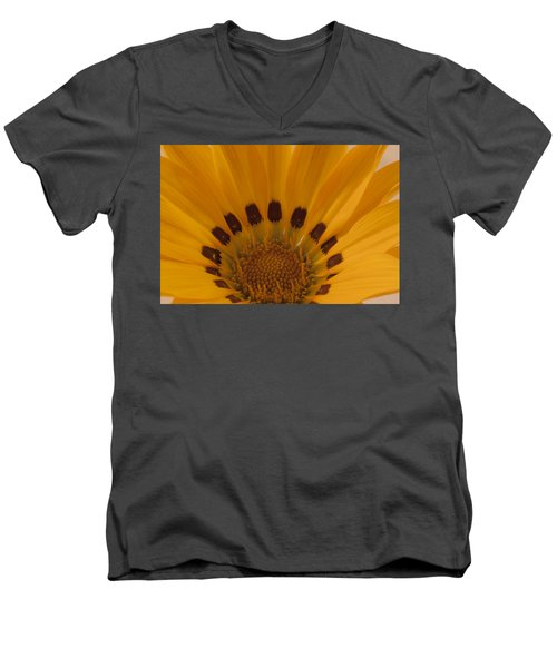 Gazania Stamen Macro Men's V-Neck T-Shirt by Sandra Foster