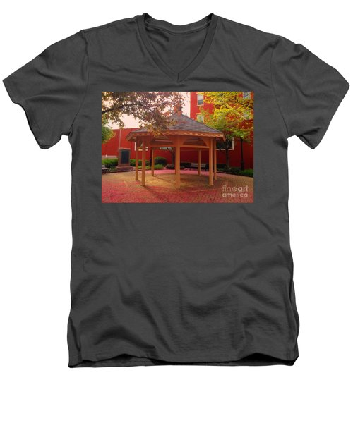 Men's V-Neck T-Shirt featuring the photograph Gazebo In Pink by Becky Lupe