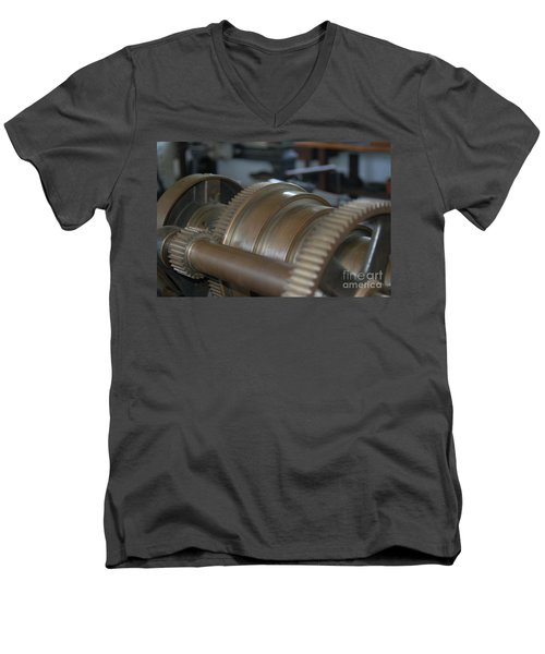 Gears Of Progress Men's V-Neck T-Shirt by Patrick Shupert