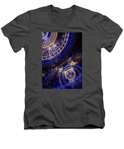 Gears Of Time Men's V-Neck T-Shirt by Martin Capek