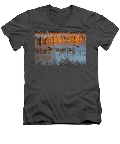 Geese In Wetlands Men's V-Neck T-Shirt
