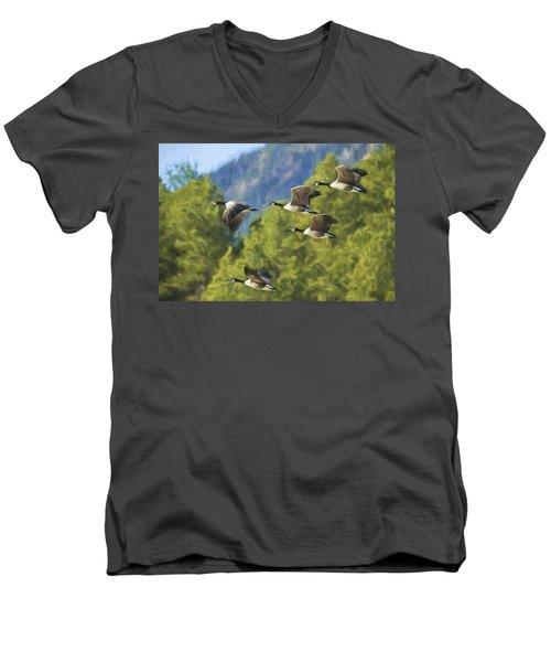 Geese On A Mission Men's V-Neck T-Shirt