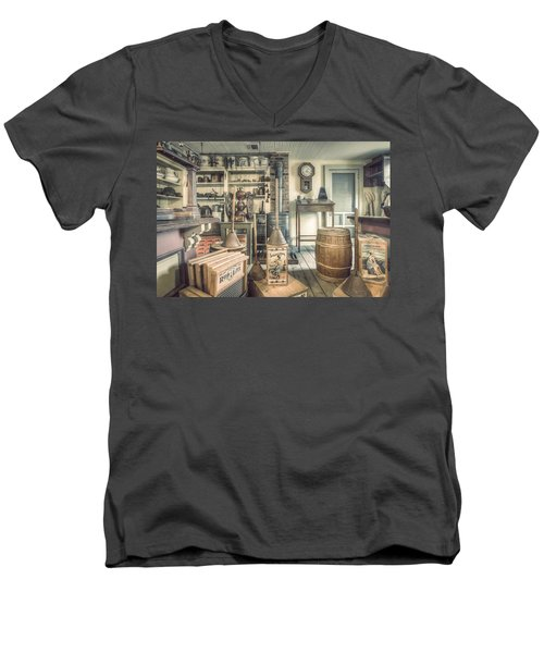 Men's V-Neck T-Shirt featuring the photograph General Store - 19th Century Seaport Village by Gary Heller