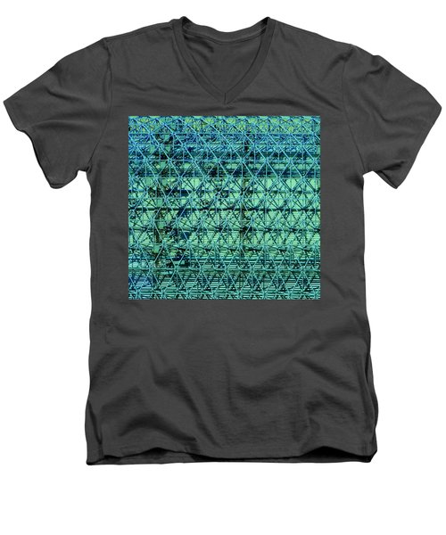 Geometrical Steel Men's V-Neck T-Shirt