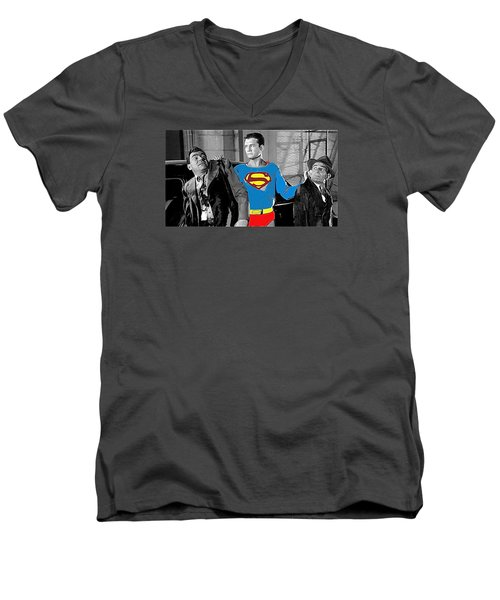 George Reeves As Superman In His 1950's Tv Show Apprehending Two Bad Guys 1953-2010 Men's V-Neck T-Shirt