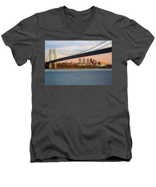 George Washington Bridge In Autumn Men's V-Neck T-Shirt