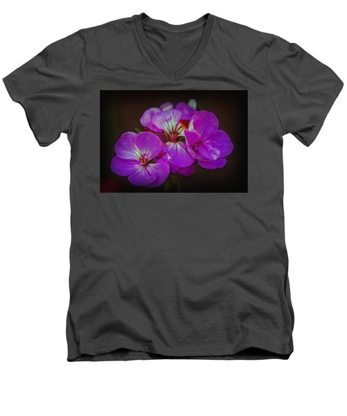 Men's V-Neck T-Shirt featuring the photograph Geranium Blossom by Hanny Heim