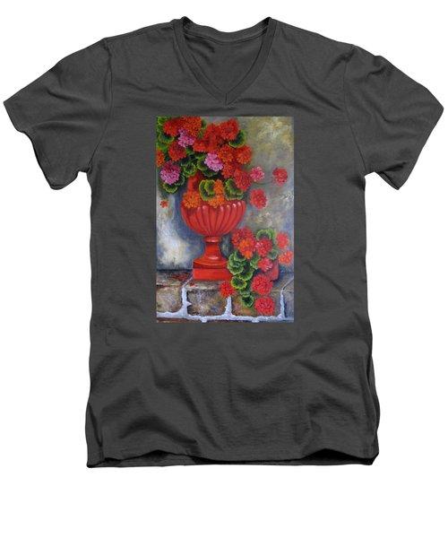 Geranium Men's V-Neck T-Shirt by Katia Aho