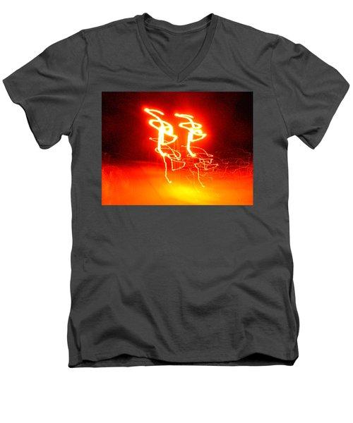 Geranium Lazer Fusion Men's V-Neck T-Shirt