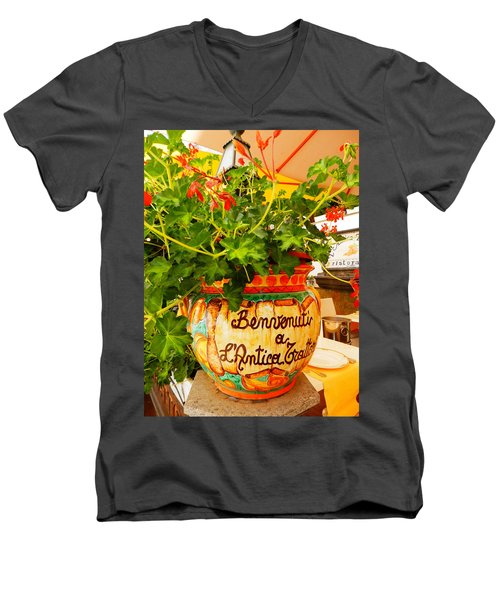 Geranium Planter Men's V-Neck T-Shirt by Pema Hou