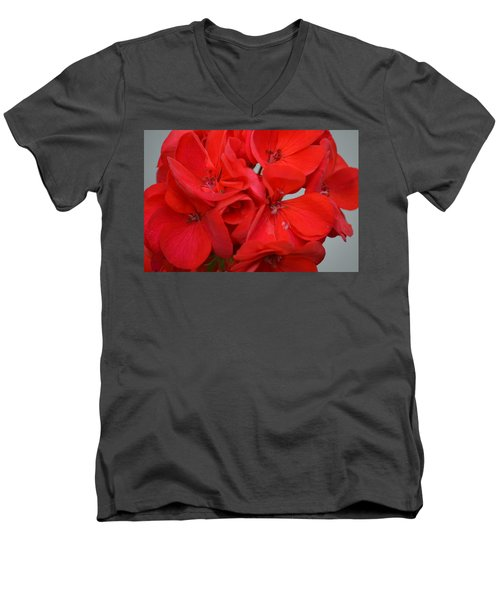 Geranium Red Men's V-Neck T-Shirt