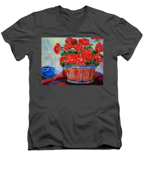 Geraniums Men's V-Neck T-Shirt
