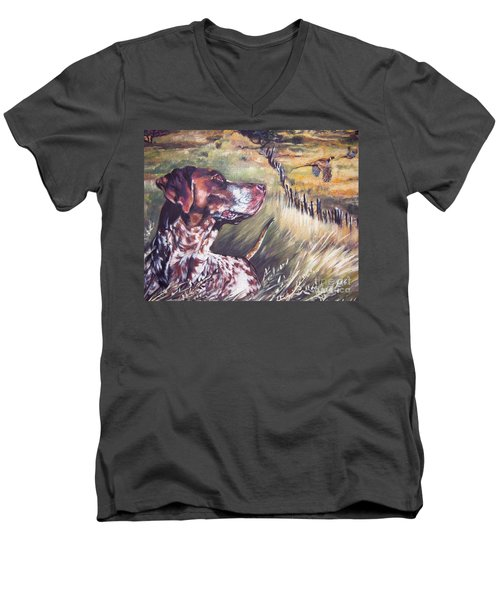 German Shorthaired Pointer And Pheasants Men's V-Neck T-Shirt