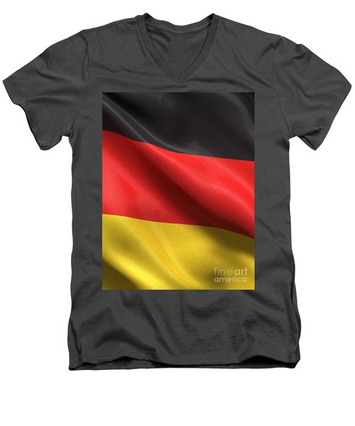 Men's V-Neck T-Shirt featuring the photograph Germany Flag by Carsten Reisinger
