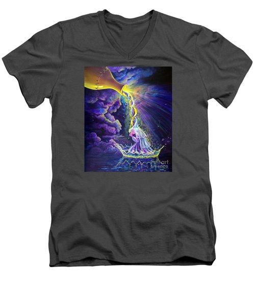 Get Ready Men's V-Neck T-Shirt by Nancy Cupp
