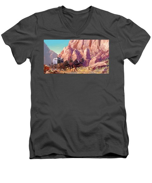 Men's V-Neck T-Shirt featuring the painting Gett'en Through by Rob Corsetti