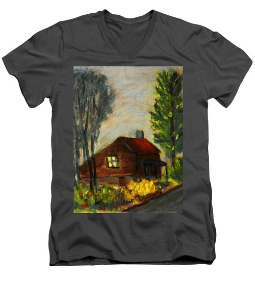 Men's V-Neck T-Shirt featuring the painting Getting Home At Twilight by Michael Daniels