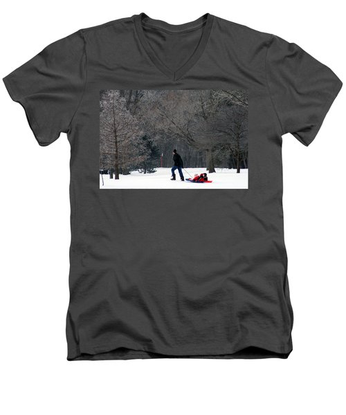 Men's V-Neck T-Shirt featuring the photograph Getty-up Daddy by Kay Novy