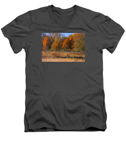 Men's V-Neck T-Shirt featuring the photograph Gettysburg At Rest - Autumn Looking Towards The J. Weikert Farm by Michael Mazaika