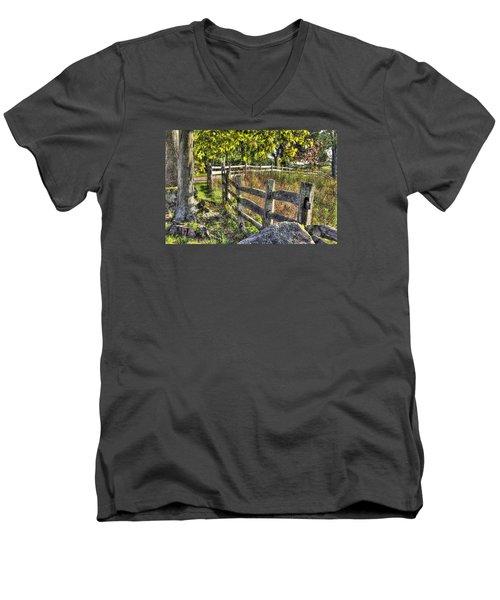 Men's V-Neck T-Shirt featuring the photograph Gettysburg At Rest - Late Summer Along The J. Weikert Farm Lane by Michael Mazaika