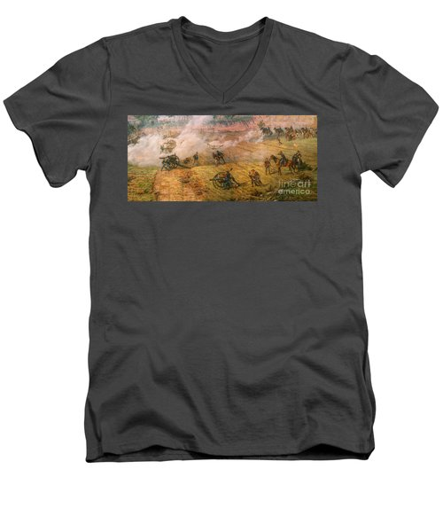 Men's V-Neck T-Shirt featuring the digital art Gettysburg Cyclorama Detail One by Randy Steele