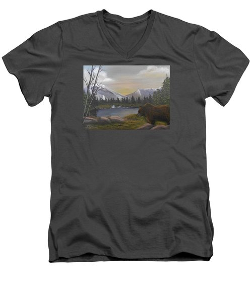 Men's V-Neck T-Shirt featuring the painting Ghost Bear-the Cascade Grizzly by Sheri Keith