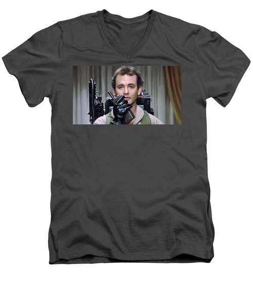 Men's V-Neck T-Shirt featuring the painting Ghostbusters - Bill Murray Artwork 1 by Sheraz A