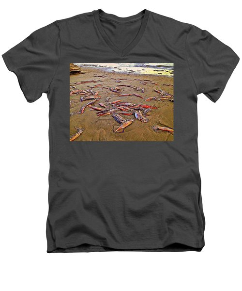 Men's V-Neck T-Shirt featuring the photograph Giant Squid Capitola Beach by Antonia Citrino