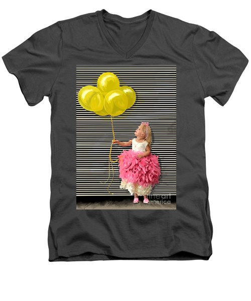Gillian With Yellow Balloons Men's V-Neck T-Shirt