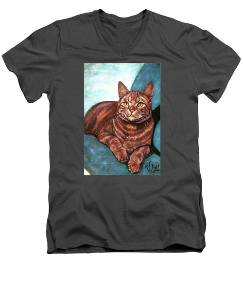 Men's V-Neck T-Shirt featuring the painting Ginger Tabby by VLee Watson