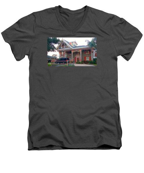 Gingerbread House - Metairie La Men's V-Neck T-Shirt by Deborah Lacoste