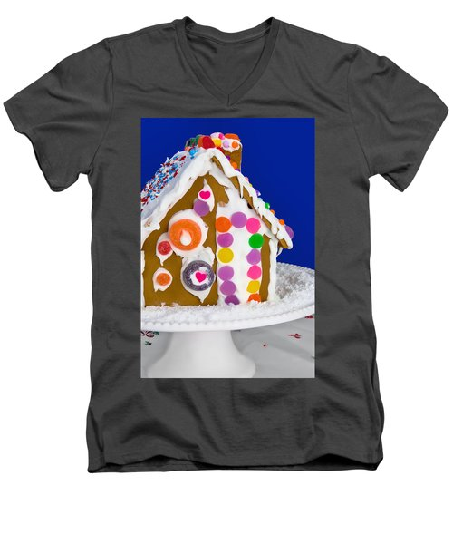 Men's V-Neck T-Shirt featuring the photograph Gingerbread House by Vizual Studio