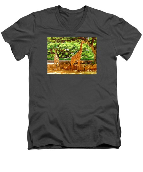 Giraffes Men's V-Neck T-Shirt by Oleg Zavarzin