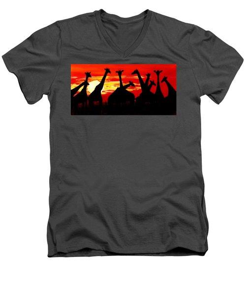 Giraffes Sunset Africa Serengeti Men's V-Neck T-Shirt