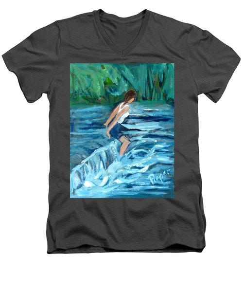 Girl Bathing In River Rapids Men's V-Neck T-Shirt