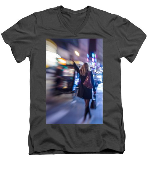 Girl Catching A Taxi In Manhattan Men's V-Neck T-Shirt