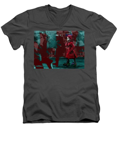 Girl In The Blood-stained Coat Men's V-Neck T-Shirt by Seth Weaver