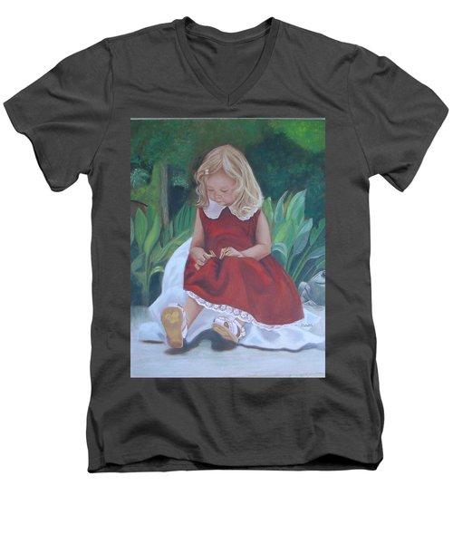 Girl In The Garden Men's V-Neck T-Shirt by Sharon Schultz
