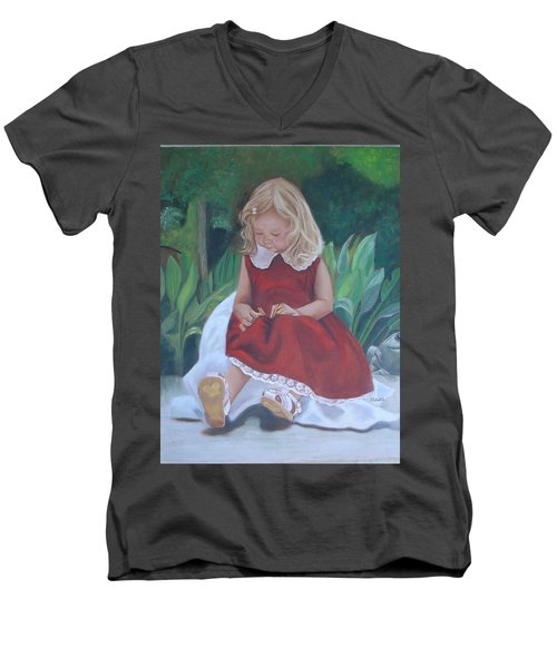 Girl In The Garden Men's V-Neck T-Shirt