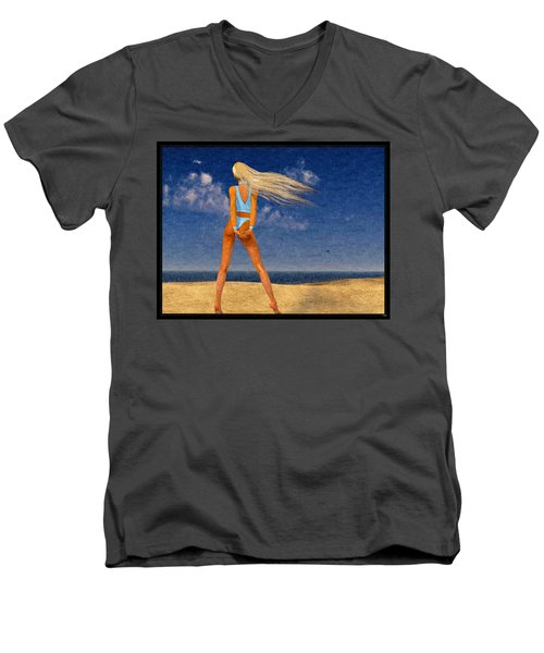Girl On The Beach...watercolor Effected Men's V-Neck T-Shirt